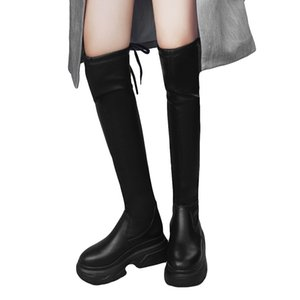Women Knee High Boots Black Leather Front Lace Up Side Zipper Platform Stacked Heels Woman Long Boots Shoes botas mujer #G3