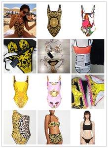 vc MAYO Yeni Stil bayan bir Piece Mayo Kadınlar Plus Size Mayo Retro Vintage Yıkanma Suits Beachwear v mektup Baskılı Swim Aşınma S-XL