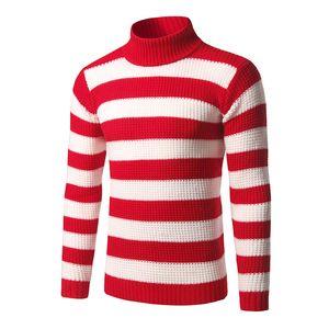 Uomo a righe Collo Maglioni Blu Bianco Rosso Nero classico di modo maglioni invernali casual Pullover 3XL