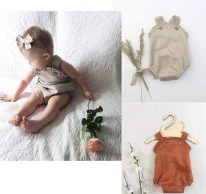 INS Designer Bebê Baby Girl Girl Romper Em Branco Botão Orgânico Algodão Babados Collar Verão Linho Recém-Nascido Cinto Macacão Recém-nascido Romper Onesies