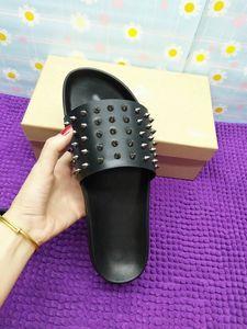 Red inferiore pantofole Mens nero vera pelle con punte Estate Flip Flops, sandali comodi scarpe da spiaggia For Men slippe Red Bottoms