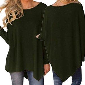 Moda Kadınlar Düzensiz Tees Giyim Tops Sonbahar Kadınlar Uzun Kollu T-shirt O-boyun Gevşek Gömlek