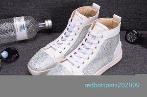 Mode blanc Rhinetone design cristal en cuir véritable pour les hommes femmes chaussures de sport rouge en bas entraîneur loisirs de luxe chaussures causales c16 r09