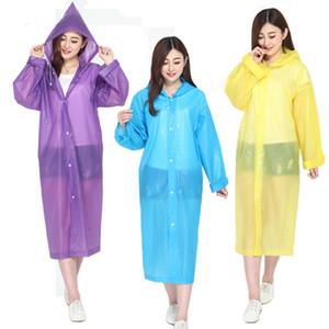 Portable Eva plastique Hooded Raincoat pêche transparent doit Poncho Rainwear avec bouton Adult pluie Coats En Stock 4 7YT E19