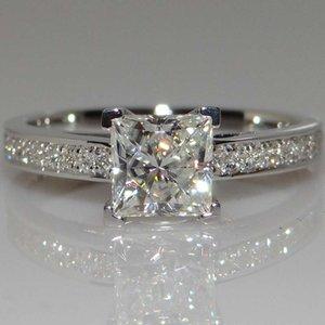 14K White Princess Square anillo de diamante para las mujeres del color de plata circón imulation anillo de diamante de compromiso de la boda joyería fina