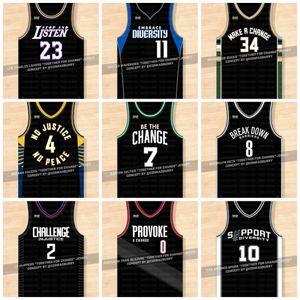 2020 Ensemble pour le changement Basketball Jersey Stop And Écouter Faire un changement No Justice No Peace