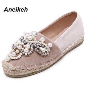 Aneikeh 2018 Primavera Outono Mulheres Loafer Rodada Toe Alpercatas Pérola confortável cânhamo inferior Women Shoes Deslizamento em Zapato Mujer CJ191219