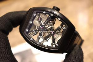 Luxry NOUVEAU SARATOGE V 45 T SQT BR (NR) Squelette Cadran Argent Automatique Boîtier mécanique Tourbillon Montre Homme bracelet en cuir de haute qualité