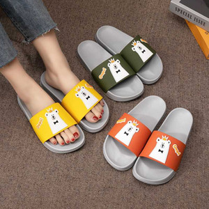 Women Summer Slippers Slide Sandals Beach Slides Cartoon Bear Flip Flops Comfortable Thick Soled Women Men Couple Bathe Shoes