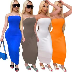 Pencil Dress Sexy Strapless Solid Color Hight Waist Bodycon Dresses Casual Female Clothing Summer Womens Designer