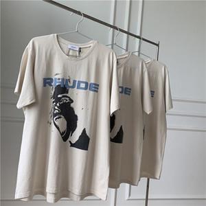 Rhude 19ss кричал ребенок Ти Крис Браун с круглой шеи высокого улице с коротким рукавом футболки