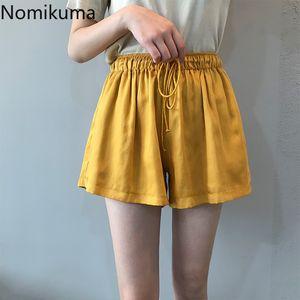Nomikuma Primavera Verano 2020 nuevo de las mujeres pone en cortocircuito ata para arriba el estiramiento de la alta cintura de la pierna ancha Bottoms coreana causal corto Feminimos 6A241