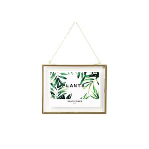 DIY شنقا ذهب إطار ورقة الفن سلسلة معدنية الجدار شنقا زجاج إطار الصورة للصور زهرة العينات النباتية المجففة 5X7 4X4 4X6