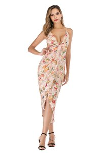 Dames de la mode robe design de mode européen et américain sexy dos nu impression numérique paillettes dentelle couture robe en gros