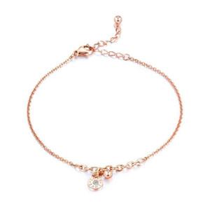 Moda mujer oro rosa cadena tobillo pulsera titanio acero amor tobillera cristal descalzo sandalia playa C19041101