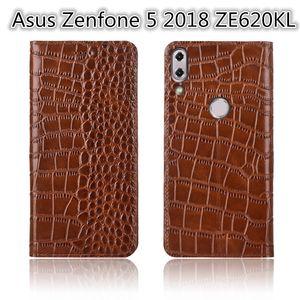 QX02 Véritable En Cuir Flip Case Stand Coque Pour Asus Zenfone 5 2018 ZE620KL Étui Téléphone Pour Asus Zenfone 5 2018 ZE620KL Sac de Téléphone