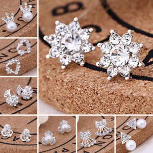 مع بطاقة حزمة / الأذن للخلف، 45 أنماط أقراط الكورية الإبداعية سوبر لماع الماس جديد اللؤلؤ وأقراط الأزياء والمجوهرات ذات جودة عالية