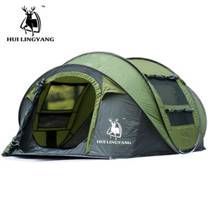 Большое пространство 3-4 человека бросить палатку открытый автоматические палатки водонепроницаемый кемпинг пеший туризм пляж палатка водонепроницаемый семейные палатки