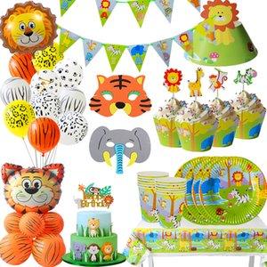 Home Plate Giardino JOY-Enlife Safari Partito Set da tavola Birthday Party Decoration bambini Coppe Tovaglia paglia animale della giungla di compleanno Decor