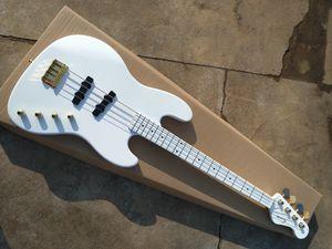 Hochwertige alle weißen Saiten der elektrischen Bass-Gitarre der Farbe 4 mit goldener Hardware, neuer elektrischer E-Bass der Ankunft 2019, freies Verschiffen freies Verschiffen