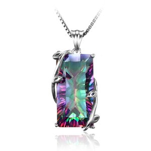 Hot Selling Beautiful 925 Silver Plated Rainbow Mystic Topaz Leaf Pendant Necklace Womens Engagemant Wedding Party Gift Daily Wear Jewelry