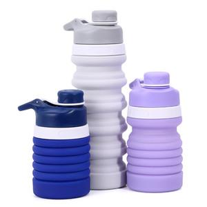 Garrafa de Água de silicone Portátil Retrátil Dobrável Garrafa De Café Ao Ar Livre de Viagem Beber Dobrável Esporte Bebida Chaleira 550 ml