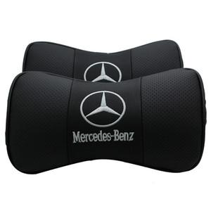 Mercedes Benz Car Reposacabezas Protección para el cuello Alivie la presión de conducción Almohada dentro de la decoración del coche Diseñador de cuero almohada Envío gratis