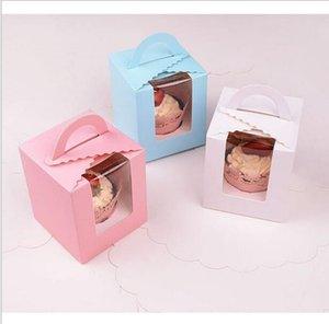 Cuisine Cupcake 9.5 * 9.5 * 11cm classique bonbons Boîte de papier blanc rose violet vert unique d'emballage de petit gâteau Boîte avec base intérieure