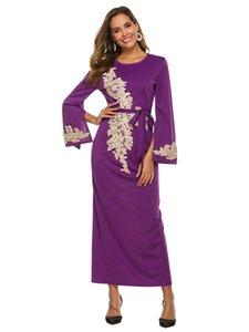 Fashionable and elegant embroidered dress with lace, nail, bead, horn sleeve and tie