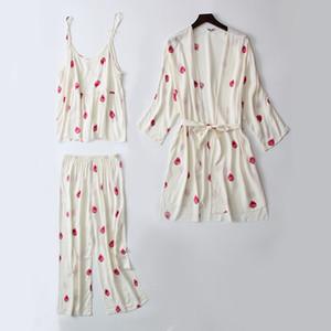 Daeyard sonno Lounge 3 Pezzi cotone Pajama Set Donna Bianco Strawberry Stampa Pajamas Sleepwear Pajamas Carino Spring Home Suit