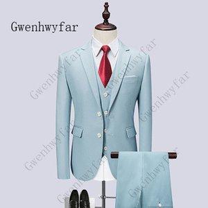 Gwenhwyfar 2019 Nueva moda Light Blue Groom Tuxedos solapa con muesca Groomsmen trajes hombre chaqueta Blazer 3 piezas traje (chaqueta + pantalones + chaleco)