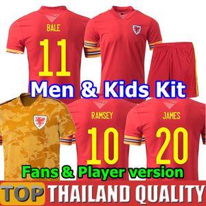 aficionados y jugador 2020 Gales WALES camisetas de fútbol copa euro 2021 Gales Camiseta de futbol BALE JAMES RAMSEY ALLEN hombres kit para niños uniforme