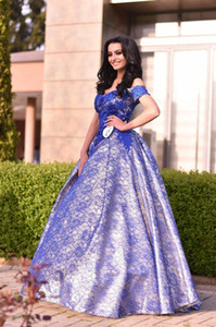 Royal Blue Lace Off Shoulder A Line Girls Pageant Dresses Gowns in Prom Dresses Long Cheap New Sexy Cheap 2019