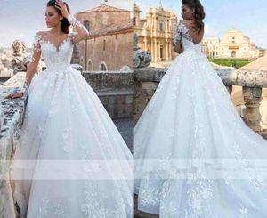 Romântico Elegante Marfim Cheia Do Laço Vestidos de Casamento 2019 Sheer Neck Mangas Compridas A Linha De Tule De Noiva Vestidos De Noiva Espartilho Voltar Vestidos De Casamento