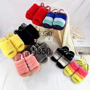 2020 crianças chinelos peludos austrália fluff sim mulitcolor designer de slidesuggsbotas casuais moda feminina sandálias lâminas de pele slip05bb #
