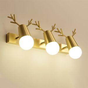 Nordic Brass Antlers LED Wall Light Villa Restaurant Hotel Decoration Bedroom Creative Art Wall Sconce WA208