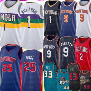 NCAA 1 Zion Williamson Джерси 9 RJ Barrett Lonzo 2 шарика Деррик 25 Rose Джерси ретро Mesh Grant 33 Hill баскетбольное