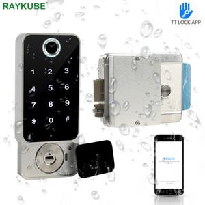 RAYKUBE d'empreintes digitales de verrouillage de porte extérieure étanche Porte Bluetooth TT Wifi verrouillage sans clé Passcode IC Card Entrez verrouillage électronique W5 Y200407