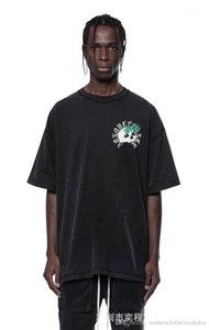 Solta cor sólida manga curta T Shir Casual Lavados Tops Masculino Vestuário Designer Mens Skulls impresso do T da forma
