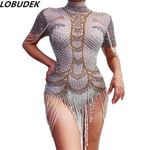 Новый Полный Стразы Бисероплетение Fringe Bodysuit Pearl Beads Комбинезон трико танец костюм Женщины DJ Singer Tour Concert Performance Stage Wear