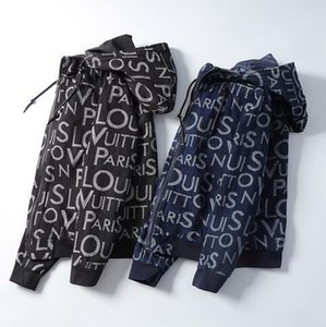 0150 20FW Nuevo dril de algodón con capucha de la chaqueta de gama alta de la calle de manera ocasional de Hip Hop de impresión sudadera dril de algodón piqué Cremalleras con capucha capa Carta