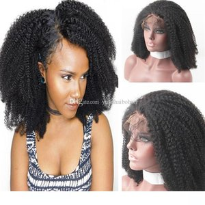 Afro Kinky da onda Perucas Indiano Cabelo Humano Cabelo Top Frente Qualidade Lace Wig da Mulher Negra frete grátis