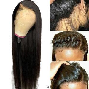Бразильский 100% реального человеческих парики волоса 13x4 Remy Straight фронт шнурок человеческих волосы Парики для чернокожих женщины 28 дюймов Парик фронта шнурок 150%