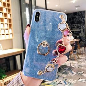 Huawei Y7 asal Y9 2018 Y6 Y5 funda Parmak halka aralığını temsil Huawei Y9 2019 vaka İnci mücevher Bilezik bilek kayışı Glitter kapağı için