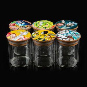 Plus récent en verre Réserve de stockage Bouteille vide pot de cire de fond Conteneurs 6 Style de motif Carton 65 * 85mm accepter OEM ODM