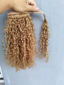 Nuevo llega Brasileño Human Virgin Remy Curly Ponytail Extensiones de cabello Rubia Oscuro 27 # Color 100g One Set