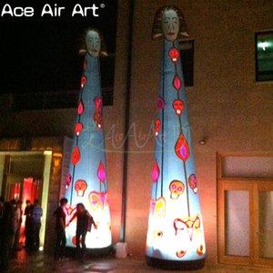 Nuovo colonna decorazione illuminazione gonfiabile disegno a terra, gigante incandescente dio egizio gonfiabile per il partito, evento o promozione