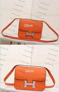 19cm 24cm piel de vaca Espom bolsas de cuero genuino del diseñador de moda del bolso mujeres de la marca de lujo bolsas de hombro del bolso de señora comstanse Fábrica 0022