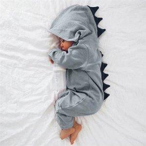 2017 Nouveau-né Infantile Bébé Garçon Fille Dinosaure À Capuche Grenouillère Jumpsuit Tenue Vêtements D50 J190525