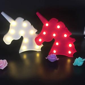 6 Farbe Cute Unicorn Kopf führte Nachthelle Tier Marquee Lampen auf Wand für Kinder-Party-Schlafzimmer Weihnachten Dekor-Kind-Geschenke ST221